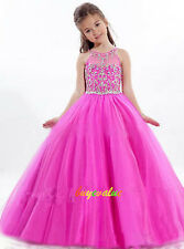 Christening Princess Wedding Dance Pageant Flower girl  Christmas kid dress-G