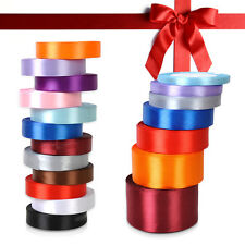 1 roll Quality 25 Yards Satin Ribbon Wedding Craft Sewing Decor 7 size 12 Color
