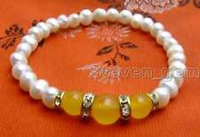 "SALE 6-7mm white Natural Pearl and Yellow Round natural jade 7.5"" bracelet-br293"