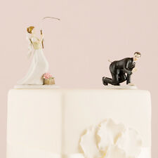 Gone Fishing Bride and Groom Funny Wedding Cake Topper Personalized