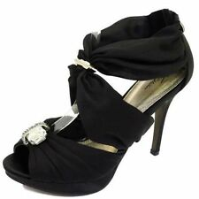 LADIES BLACK PLATFORM STRAPPY SANDALS PEEP-TOE EVENING WEDDING SHOES SIZE 3-8