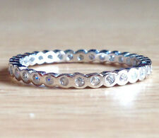 925 Sterling Silver CZ Round Eternity Stacking Ring Band- US Size 6,7,8,9