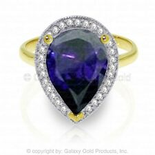 Genuine Sapphire Pear Cut Gemstone & Diamonds Ring 14K. Yellow, White, Rose Gold