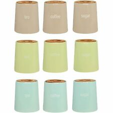 Fletcher Tea Coffee Sugar Canisters Kitchen Ceramic Storage Jars With Bamboo Lid