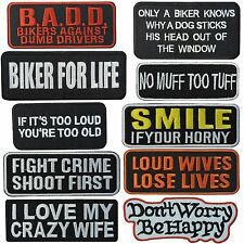 Funny Message Slogan Text Motorcycle Biker Rider Rockabilly Iron on Patch Cap #8