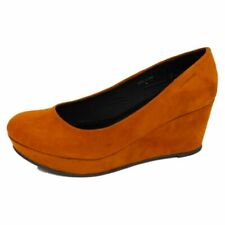 LADIES WOMENS TAN MID HEEL WEDGE PLATFORM COURT WORK SHOES PUMPS SIZE UK 3-8