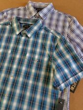 MEN'S APT.9 SHORT SLEEVE COTTON CASUAL/DRESS SHIRT~BLUES-BLK OR TURQ BLK PLAIDS