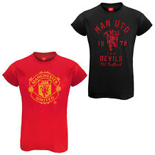 Manchester United FC Official Football Gift Ladies Glitter Print T-Shirt Soccer