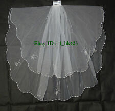 New 2T Handmade Elbow Beaded Edge white & ivory Bridal wedding Veil with comb