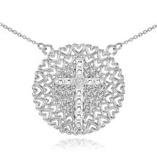 White Gold Filigree Heart Cross Diamond Necklace