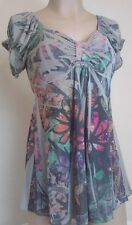 Womens Maternity Shirt Green Multi Color Shirt Top Flower Blouse Size S M