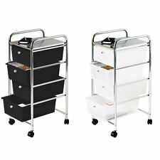 White and Black Storage Trolley 4 Plastic Drawers, Chrome Steel Tube Frame