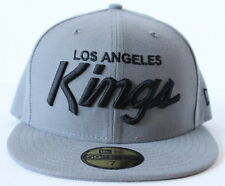 Los Angeles Kings Script New Era 59Fifty Fitted Cap Hat - Storm Gray/Black