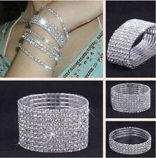 Wedding Bridal Elastic Crystal Rhinestone Stretch Silver Womens Bracelet Bangle