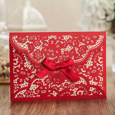 Personalized Hollow-out Red Wedding  Invitations Cards With Envelopes, Seals