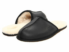Ugg Australia Scuff Leather Black 1001546 Men's Genuine Sheepskin House Slipper