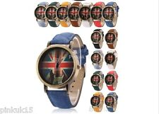 Mens Womens Vintage Bronze Denim UK Union Jack Flag Guitar Quartz Wrist Watch