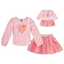 """Dollie Me Girl and 18"""" Doll Matching Pink Gold Heart Skirt Outfit American Girl"""