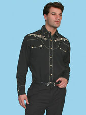 Scully Mens Embroidered Western Shirt Musicians Cowboy Black P-627
