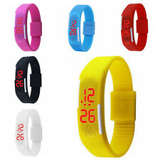 Mens Womens Sports Watch Rubber LED Watch Date Bracelet Digital Wrist Watch SUS