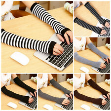 Lady Warmer Mitten Winter Long Knitted Wrist Arm Hand Warmer Fingerless Gloves