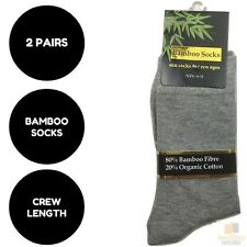 2 Pairs BAMBOO SOCKS Eco Friendly Organic Cotton Natural Business Unisex New