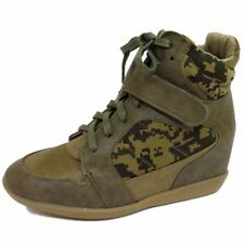 LADIES DOLCIS KHAKI CAMO LACE-UP HIDDEN WEDGE TRAINER ANKLE BOOTS SHOES SIZE 3-8