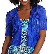 NEW One World Pointelle Knit Open Front Shrug - BLUE - SZ XS, S, M, L