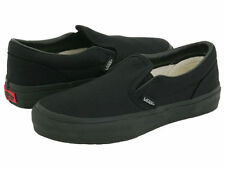 Vans Classic Slip On All Black Mens Womens Canvas Shoes Sneakers Size 4.5-13