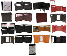 WHOLESALE LOTS 12 + GENUINE LEATHER MEN WALLETS BI-FOLD,TRI-FOLD BLACK,BROWN,TAN
