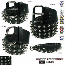 New High Quality Nickel Spike Studded Leather Belt Emo Punk Gothic Made In UK