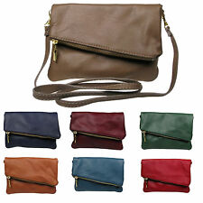 Italian leather Fold Over Clutch and Cross Body Ladies leather bag Made In Italy