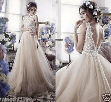 New Sheer Lace Wedding Dresses Bridal Gowns Custom Size 2 4 6 8 10 12 14 16 18