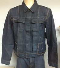 New WOMENS Rick Owens SLAB MFO6010 Jean Jacket Blue  Fog Trash Coated