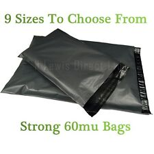 """Strong Large Grey Plastic Poly Mailing Bags/Sacks Self Seal 14x20"""""""