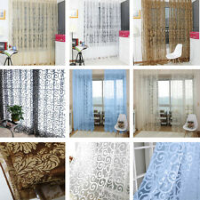 Floral Tulle Voile Door Window Curtain Drape Panel Sheer  Valances Home Decor