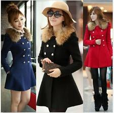 Womens Faux Fur Collar Double-Breasted Coat Slim Winter Jacket Trench Parka Lin