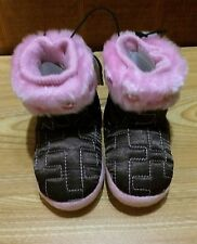 BLAZIN' ROXX Girls Kid Infant Brown Pink Slippers Boots House Shoes 57026273 NWT