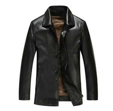 NEW Mens Mid Age Sheep Leather Fashion Spring Autumn Jackets Classic Trench Coat
