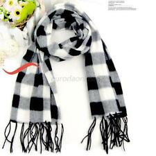 Women's Black/White Neck Warm Long Scarf Checked Plaid Wool Blends Shawl HOT E37