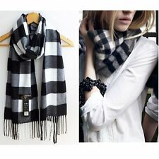 Hot Classic Lady Checked Plaid Scarf Wrap Black/White Winter Warm Long Shawl E27