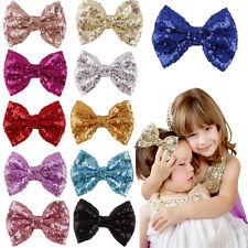 Sequins Bow Hair Clips Kids Girls Barrette for Costume Party Hair Accessories HF