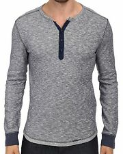 New LUCKY BRAND Men's Navy Blue Casual Knit Twisted Slub Henley L/S Shirt $59