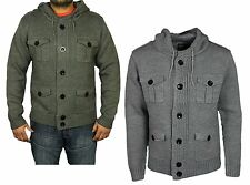 MENS BRAND NEW LEBREVE HOODED CARDIGAN IN GREY MARL & CHARCOAL COLOURS S - 2XL