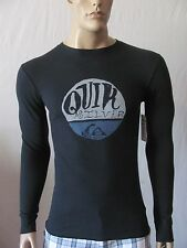 New QUIKSILVER Mens Black Crew Graphic Printed Sunrise L/S Thermal Tee Shirt $29