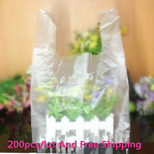 200 pcs Plastic White Vest Carrier Bags Retail Carrier take away bags worth buy
