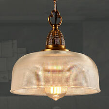 Rustic 1-Light Dome Shade Edison Pendant Light Prismatic Clear Glass Chandelier
