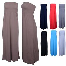 Comfy Strapless Casual Banded Elastic Stretch Flared Sun Summer Beach Maxi Dress