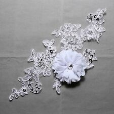 White Bridal Wedding Large Flower Beaded Sequin Sew on Embroidered Lace Applique