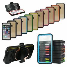 Heavy Shockproof Bumper+Clear Built Screen Case Cover For Apple iPhone w/Clip